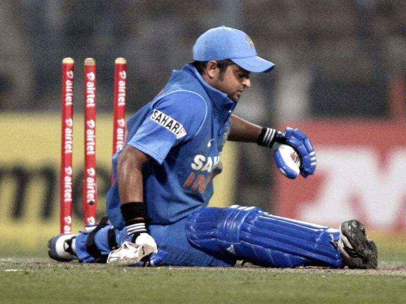 Suresh Raina is stumped out in second one day international match against Pakistan at Eden Gardens, Kolkata. HT/Ashok Nath Dey