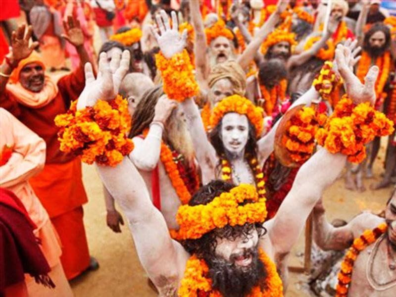 Naga Sadhus during a religious procession 'Peshwai' at Sangam ahead of Maha Kumbh Mela that starts on Jan 14. Countdown for the upcoming Maha Kumbh congregation has begun as thousands of Naga sadhus were seen marching in a procession to their camps. (AP Photo)