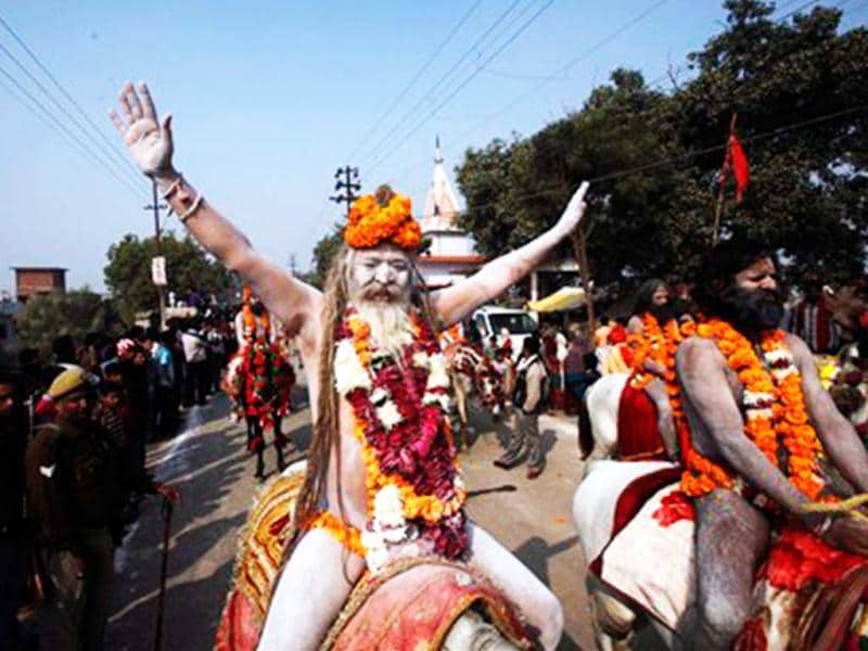 Naga Sadhus participate in a religious procession towards the Sangam. Countdown for the upcoming Maha Kumbh Mela has begun with thousands of Naga sadhus marching in a procession to their camps in the vicinity of the holy confluence of Ganga, Yamuna and mythical river Saraswati. (AP Photo)