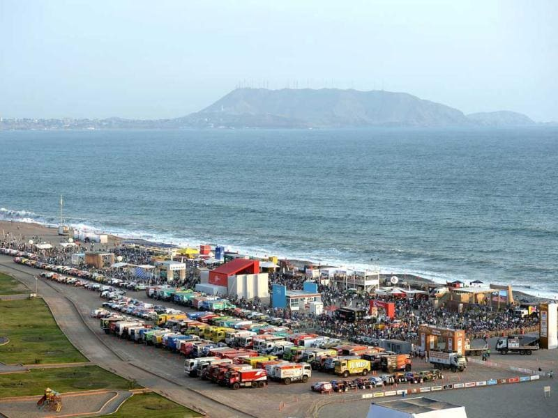 View of the parking lot of the Dakar 2013 competition at a beach in Magdalena, Lima. AFP Photo