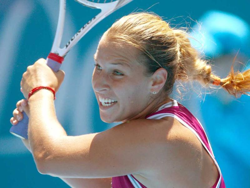 Dominika Cibulkova of Slovakia plays a shot to Petra Kvitova of the Czech Republic at the Sydney International tennis tournament in Sydney, Australia. Cibulkova won the match 6-1, 6-1. AP Photo