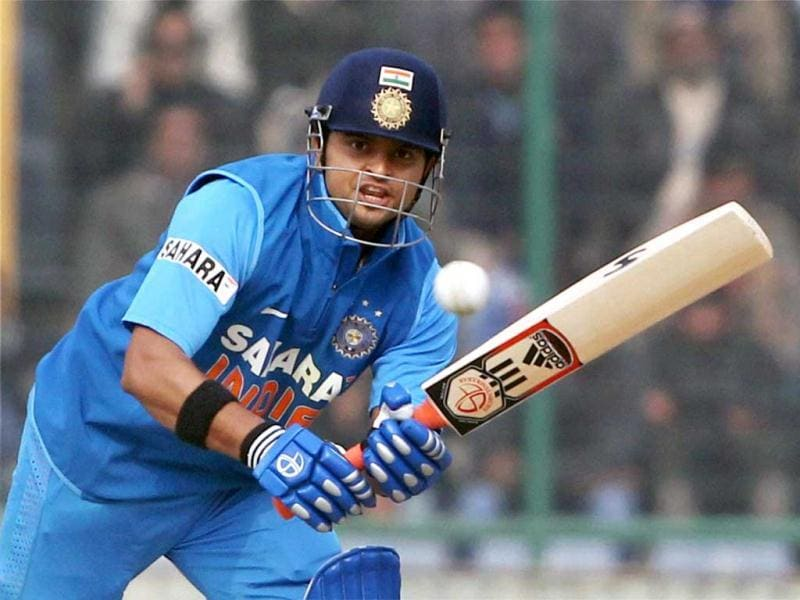 Suresh Raina plays a shot against Pakistan during the last ODI match at Feroz Shah Kotla Stadium in New Delhi . PTI Photo