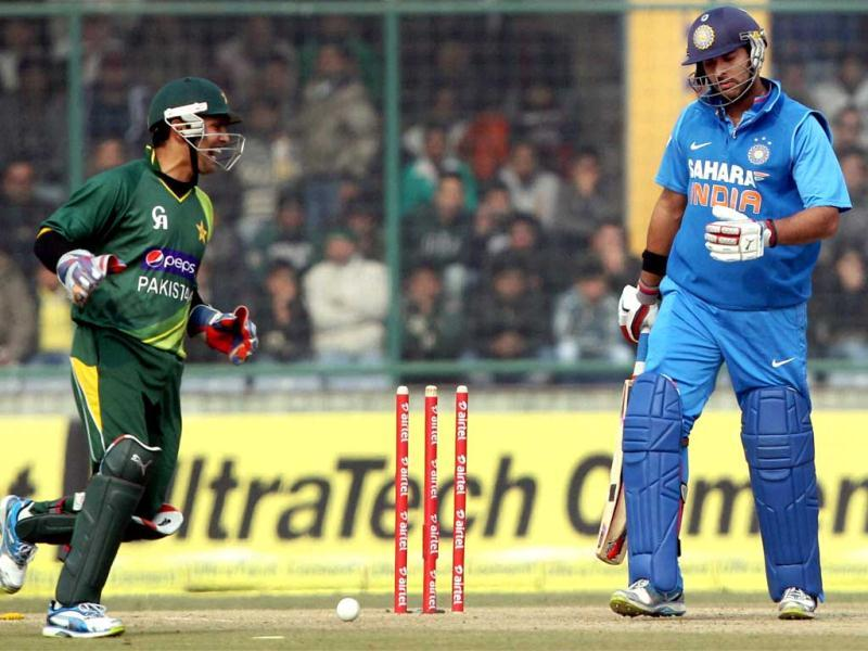 Yuvraj Singh react after bowled by Pakistan's Mohammad Hafeez during the last ODI match at Feroz Shah Kotla Stadium in New Delhi . PTI Photo
