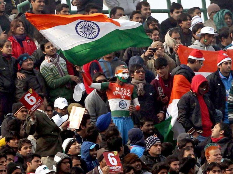 Indian fans during the last ODI match at Ferozeshah Kotla in New Delhi . PTI Photo
