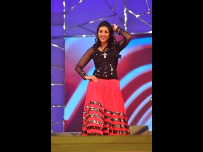 Actor Parineeti Chopra dancing during a performance at umang 2013.