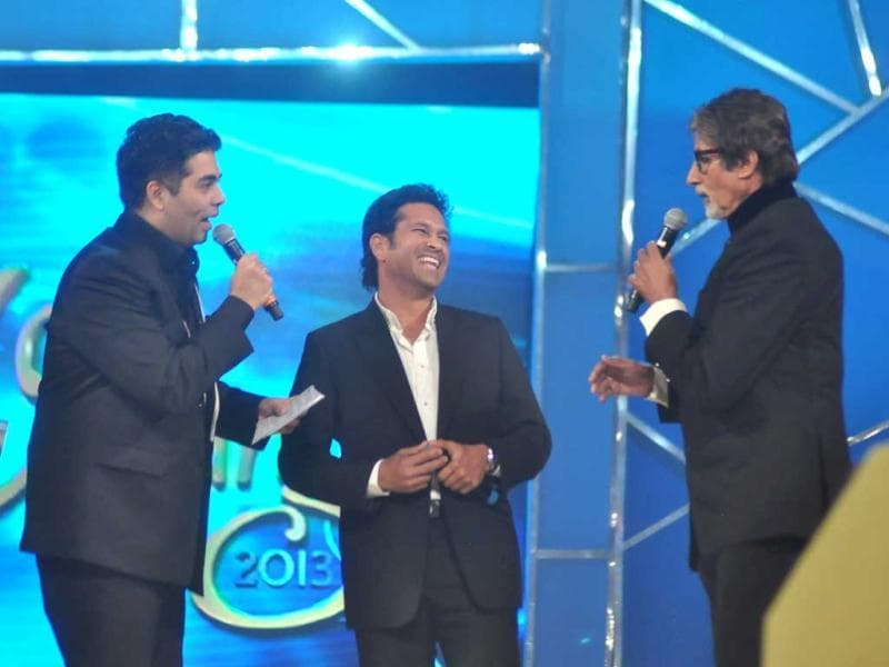 Sachin Tendulkar, Karan Johar and Amitabh Bachchan share the stage for Umang 2013.