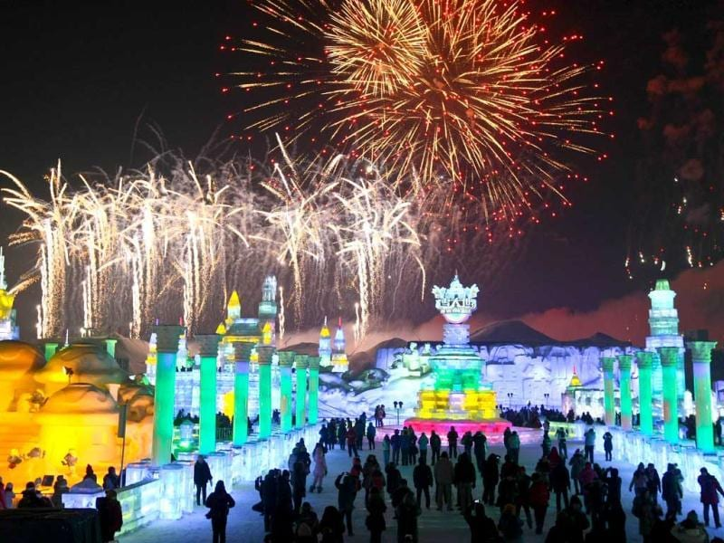 The 29th Harbin International Ice and Snow Festival in Harbin, China draws huge crowd as the event features over 2,000 ice and snow sculptures created within two weeks, including a 48-metre-tall
