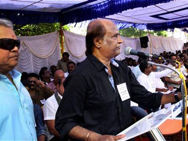 Superstar Rajinikanth speaks during a day-long fast organized by South Indian Film Artistes' Association (SIFAA) to protest against centre's service tax proposal in Chennai.(PTI Photo)