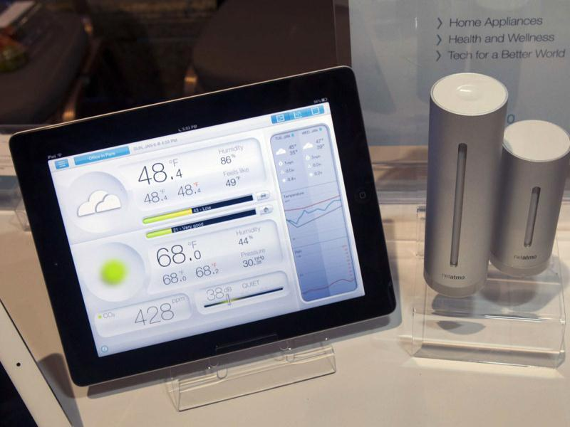 A Netatmo urban weather station on display at the opening press event of the 2013 International Consumer Electronics Show (CES) in Las Vegas. The personal indoor and outdoor weather station monitors a variety of conditions and sends the information to your wireless device. (Reuters)