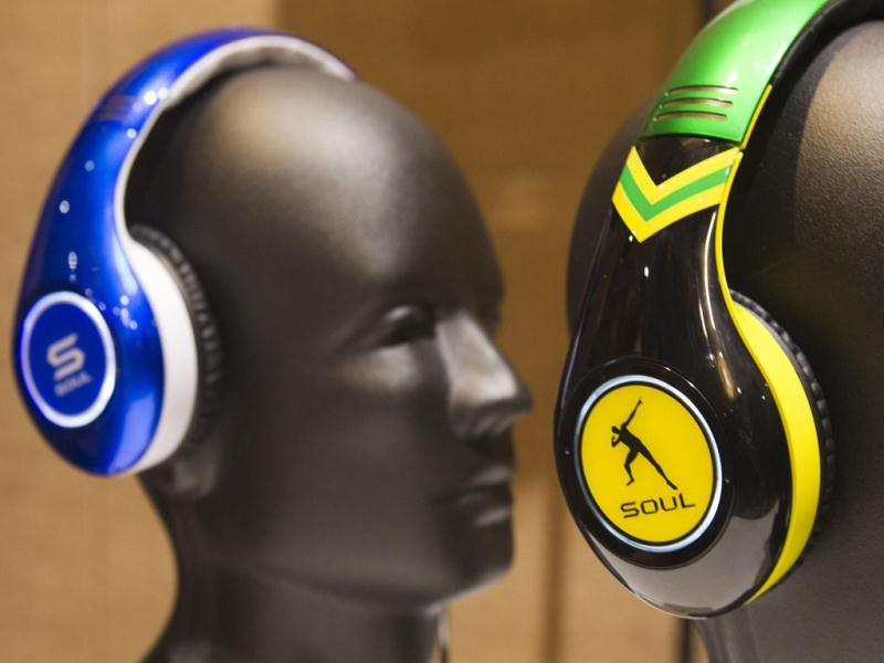 A Tim Tebow and Usain Bolt-themed Soul SL300 noise cancelling headphones on display at the Consumer Electronics Show (CES) in Las Vegas. The headphones retail for $299.00. (Reuters)