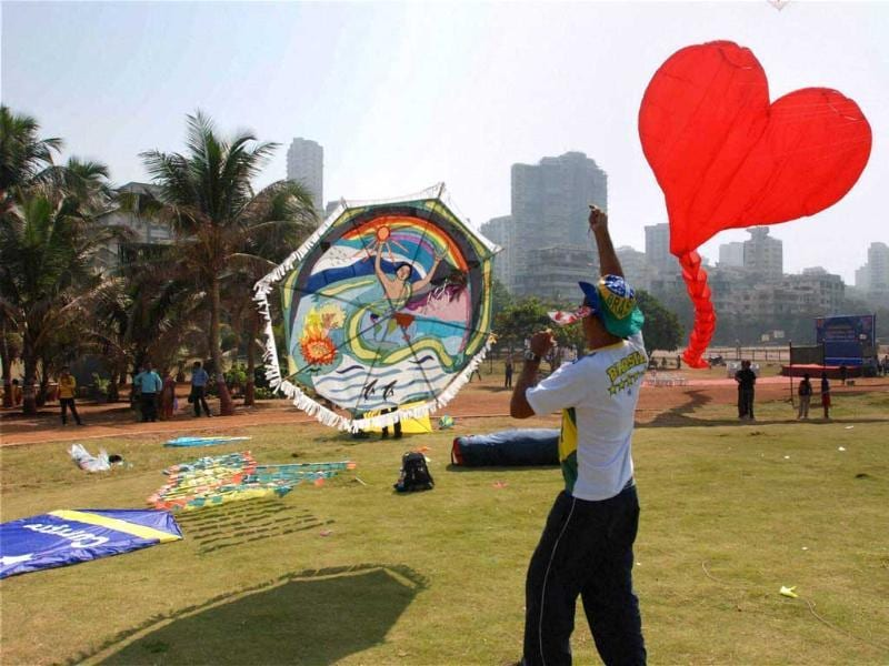 Participants fly huge colourful kites at the International Kite Festival in Mumbai. Kite-flyers from various countries participated in the day-long festival. PTI