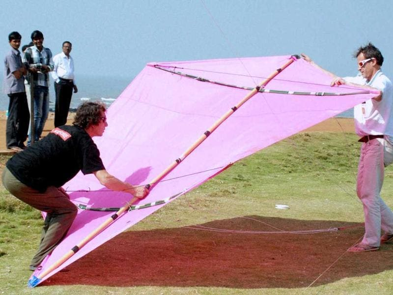 Participants fly a huge kite at the International Kite Festival in Mumbai. Kite-flyers from various countries participated in the day-long festival. PTI