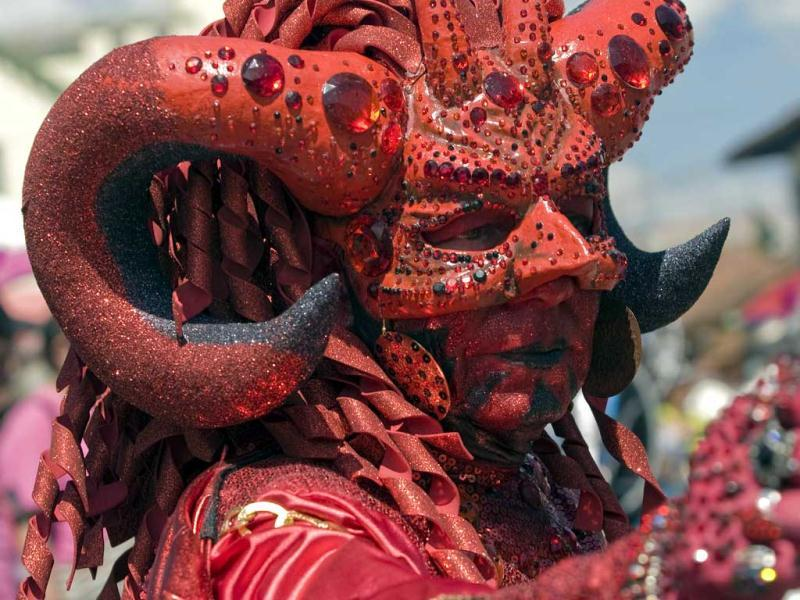 A reveler wearing a mask of devil takes part in the Devil's Carnival in Riosucio, Colombia. Riosucio's Carnival is one of the oddest celebrations in the world in which a good devil is worshipped with music, songs and dances. (AFP Photo)