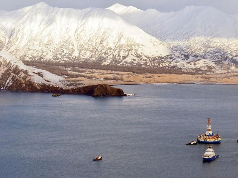 This aerial photo shows the Shell floating drill rig Kulluk in Kodiak Island's Kiliuda Bay as salvage teams conduct an in-depth assessment of its seaworthiness. The Kulluk, which ran aground a week ago on Sitkalidak Island near Kodiak, was taken to Kiliuda Bay for repairs and a survey. AP photo