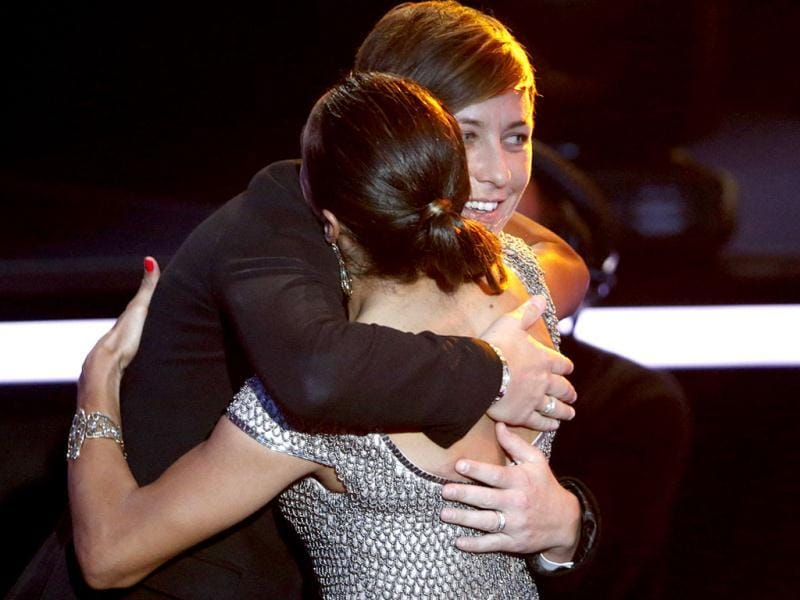 Marta of Brazil congratulates Abby Wambach of the US after she was awarded the FIFA Women's World Player of the Year 2012, during the FIFA Ballon d'Or 2012 soccer awards ceremony at the Kongresshaus in Zurich. Reuters