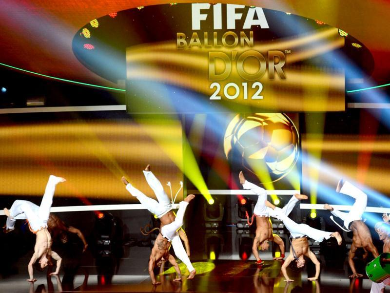 Performers dance on stage during the FIFA Ballon d'Or awards ceremony at the Kongresshaus in Zurich. AFP Photo