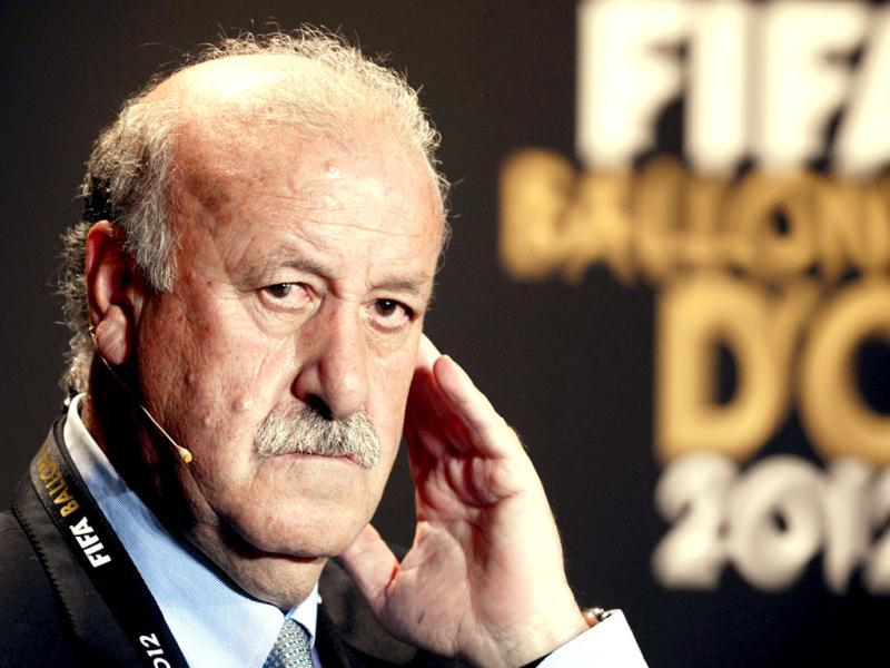 Spain's Vicente del Bosque, one of the nominess for the FIFA Men's World Soccer Coach of the Year Award, attends a press conference during the FIFA Ballon d'Or Gala 2013 held at the Kongresshaus in Zurich, Switzerland. (AP Photo)