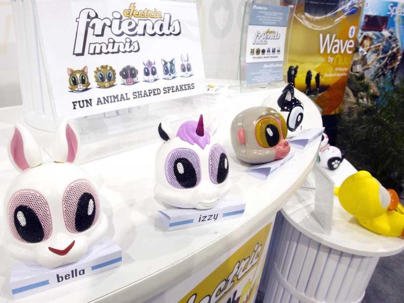 Electric Friend Minis are displayed at the Noetic booth during the first day of the Consumer Electronics Show (CES) in Las Vegas. The animal-shaped speakers with retractable cords are expected to be in stores this spring. Reuters photo