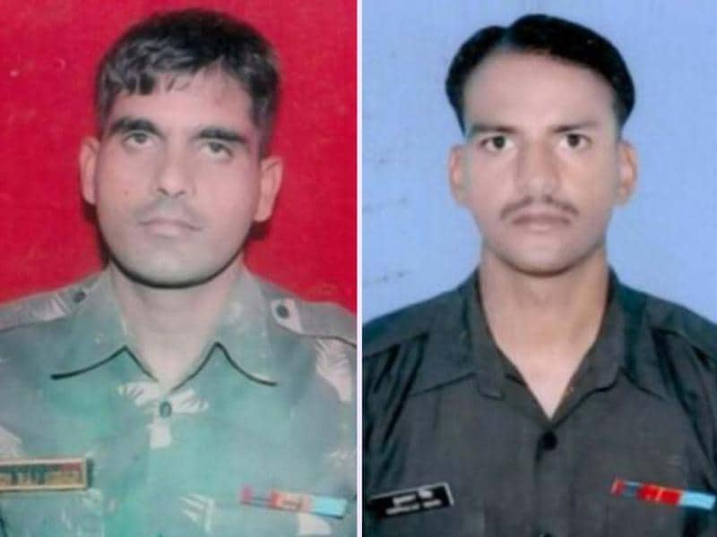 Indian army soldiers, LNK Hemraj (L) and LNK Sudhakar Singh, who were allegedly killed by Pakistani soldiers. HT Photo