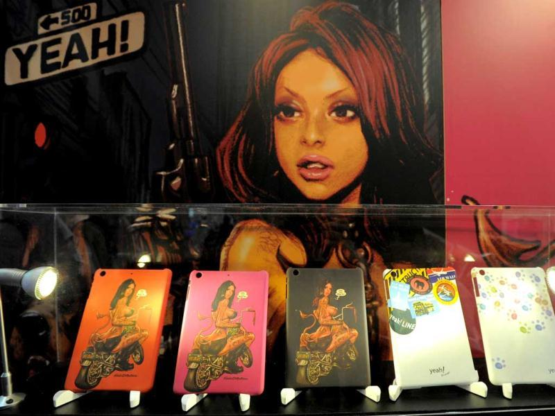 Smartphone covers by Yeah! at the 2013 International CES at the Las Vegas Convention Center in Las Vegas, Nevada. (AFP Photo)