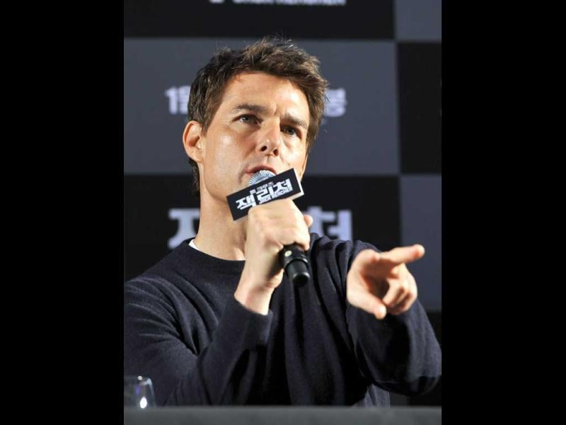 Actor Tom Cruise speaks during a press conference for his latest movie