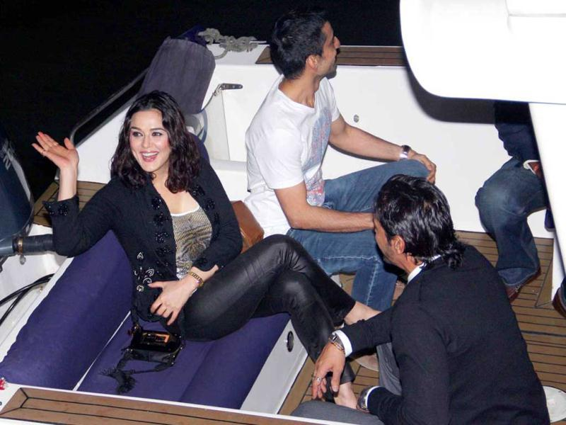 All aboard! Preity Zinta happy to be on her way to the yacht.