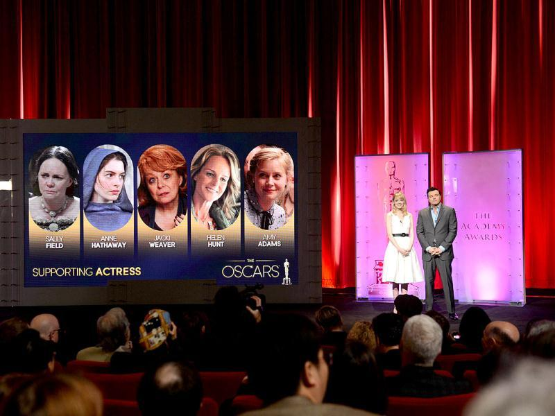 The Oscar nominees for best supporting actress are announced by Seth MacFarlane and Emma Stone at the Samuel Goldwyn Theartre in Beverly Hills, California. AFP Photo