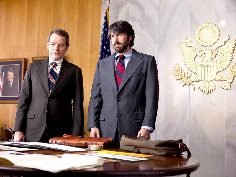 This undated publicity film image released by Warner Bros. Pictures shows Bryan Cranston (L) as Jack OíDonnell and Ben Affleck as Tony Mendez in Argo, a rescue thriller about the 1979 Iranian hostage crisis. AP Photo