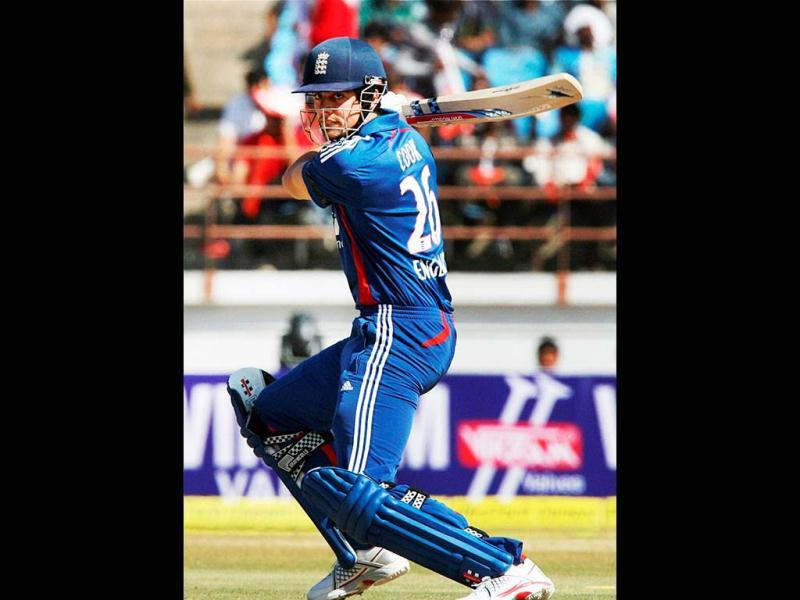 England's Alastair Cook in action during the first ODI cricket match against India in Rajkot . PTI Photo