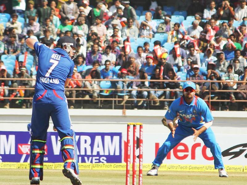 England's Ian Bell in action during the first ODI between India and England at Saurashtra Cricket Stadium in Rajkot.