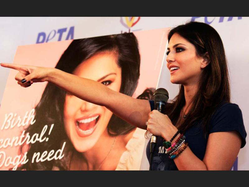Bollywood Siren Sunny Leone during the PETA campaign at Khar West in Mumbai, on Thursday. (Photo by Saroj Kumar Dora/ HT)