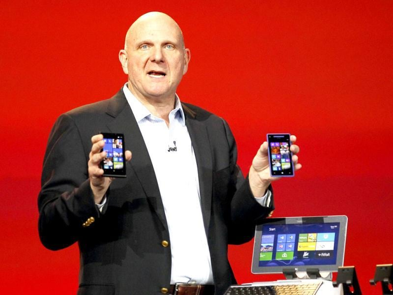 Microsoft CEO Steve Ballmer displays Windows Phone 8 devices at the Qualcomm pre-show keynote at the Consumer Electronics Show (CES) in Las Vegas. Reuters Photo