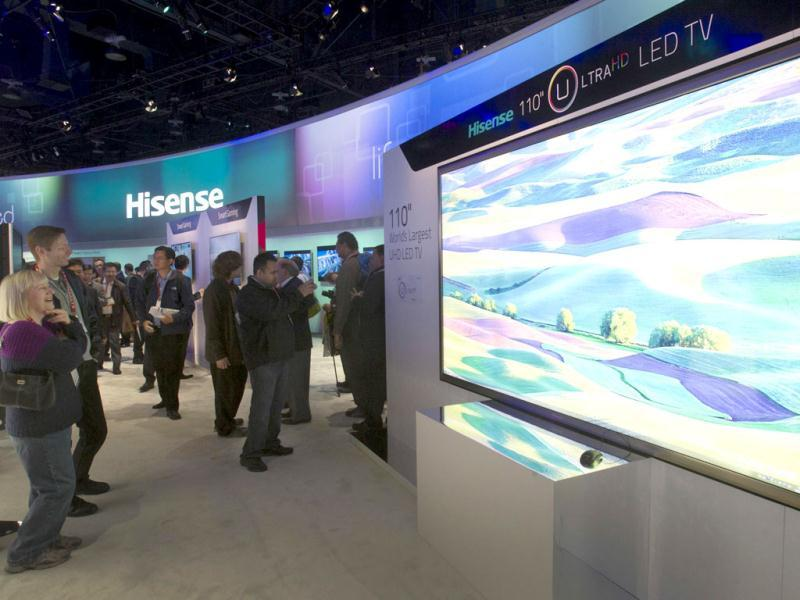 A Hisense 110-inch Ultra HD LED television, the world's largest, is displayed during the first day of the Consumer Electronics Show (CES) in Las Vegas. Reuters Photo