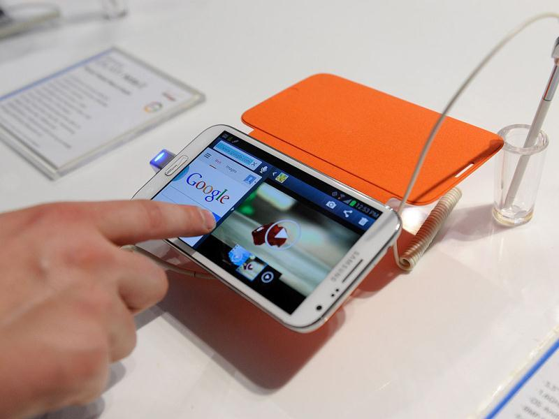 The Samsung Galaxy Note II is seen at the 2013 International CES at the Las Vegas Convention Center in Las Vegas, Nevada. The $300