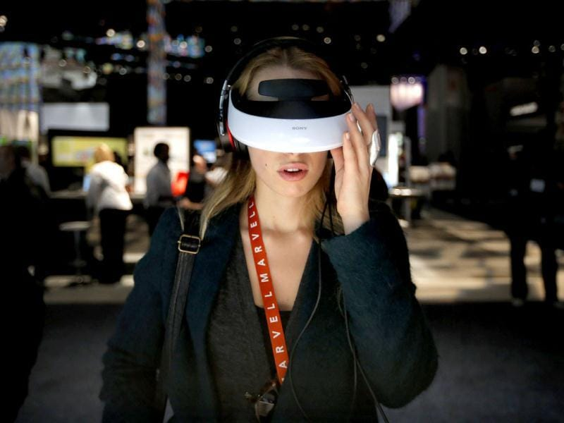 Antonia Laterza, of Italy, checks out Sony's Personal 3D Viewer at the International Consumer Electronics Show in Las Vegas. AP Photo