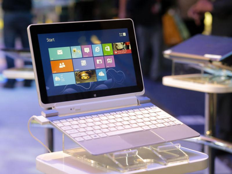 An Acer Iconia W510 tablet running on Windows 8 is on display at the Intel booth at the International Consumer Electronics Show in Las Vegas. AP Photo