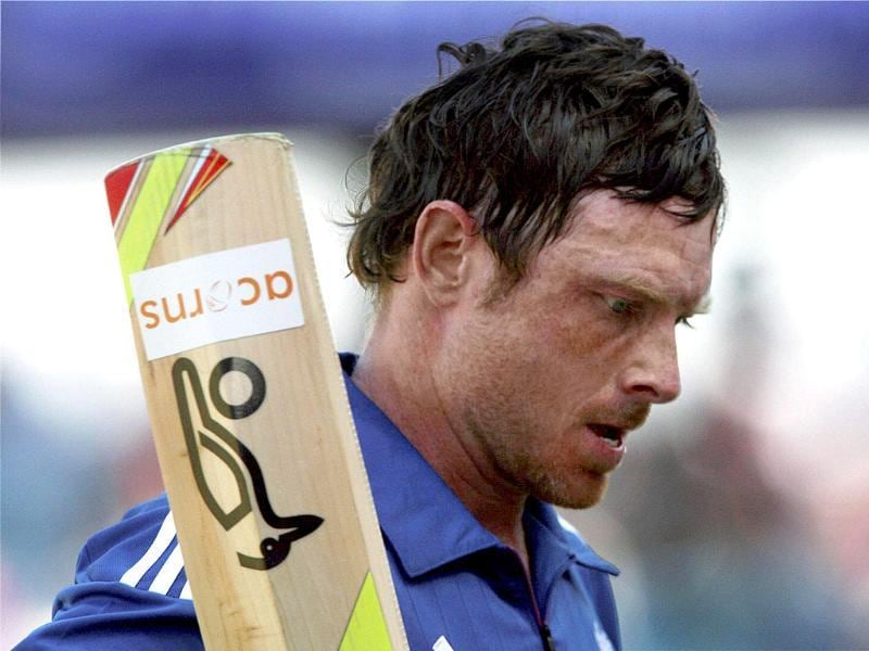 England's Ian Bell walks back to pavilion after his dismissal during the first ODI cricket match against India in Rajkot. PTI/Shirish Shete