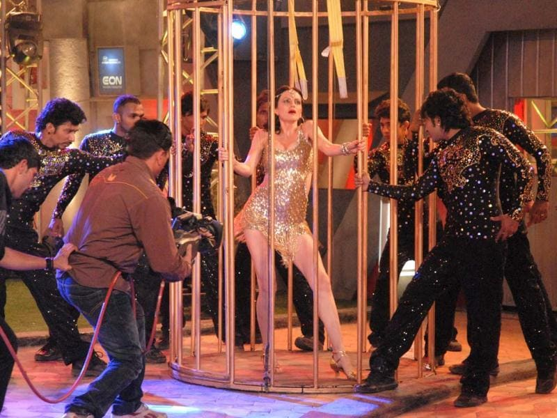 Yana Gupta performs her cage act at Bigg Boss 6 grand finale.
