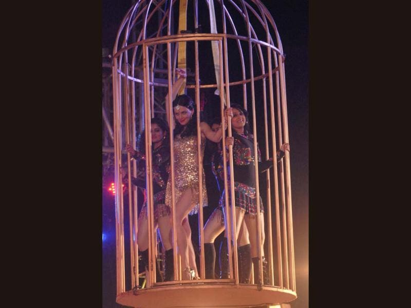 Yana Gupta sizzles during her cage-act at Bigg Boss 6 grand finale.