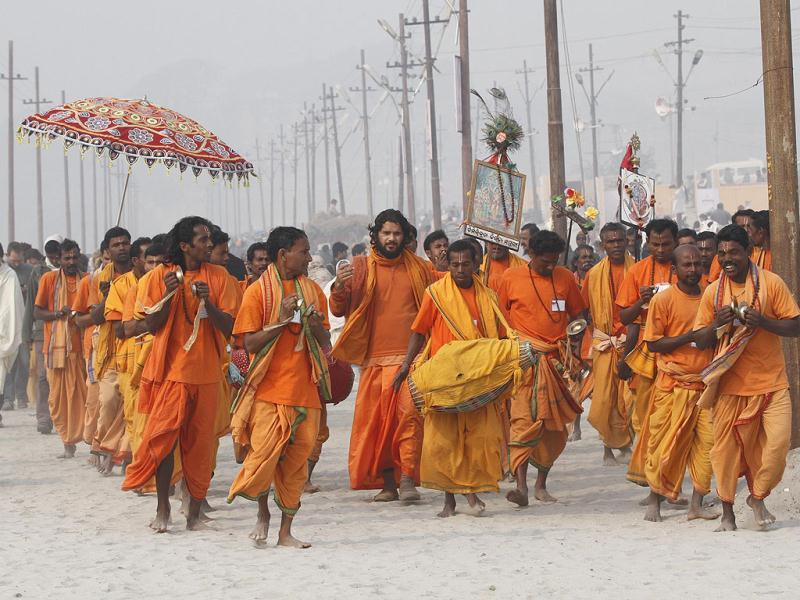 Sadhus of Kriya Yog Akhara take out religious procession at the bank of Sangam ahead of Maha Kumbh Mela (festival), in Allahabad. Photo by Arvind Yadav/Hindustan Times