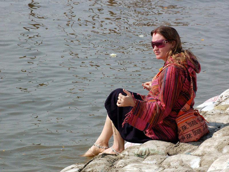 A foreign tourist at the Sangam during Maha Kumbh mela in Allahabad. Agencies