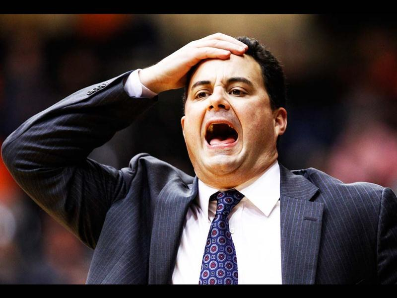 Arizona coach Sean Miller reacts to a call during the second half of an NCAA college basketball game against Oregon State in Corvallis, Oregon. AP Photo