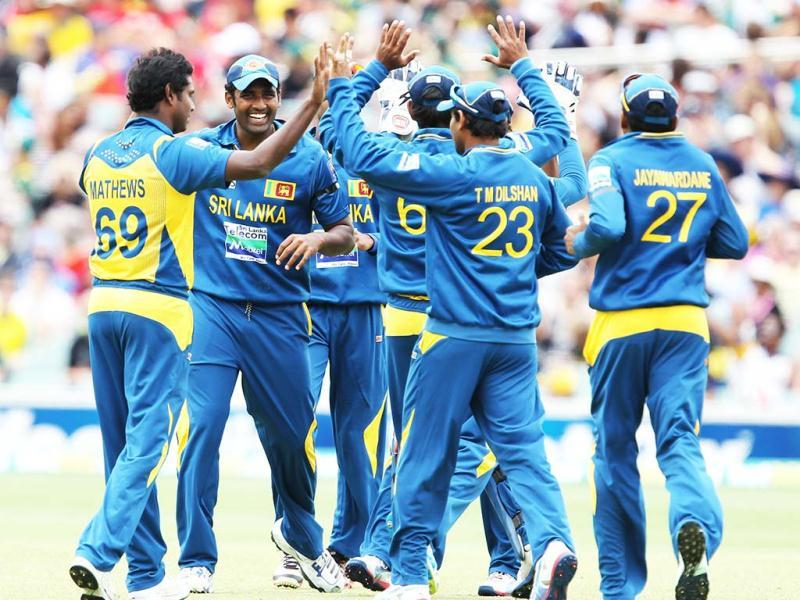 Sri Lanka celebrates the wicket of Australia's Aaron Finch during their One Day International cricket match in Adelaide, Australia. AP Photo