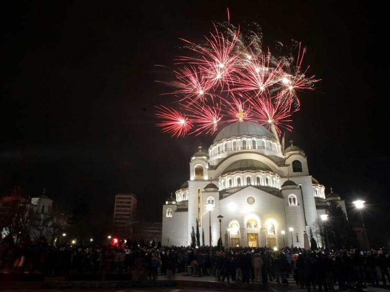 Fireworks illuminate the sky over St Sava temple in downtown Belgrade, Serbia. Orthodox Christians in Serbia celebrate the New Year on January 14, according to the Julian calendar. (AP Photo)