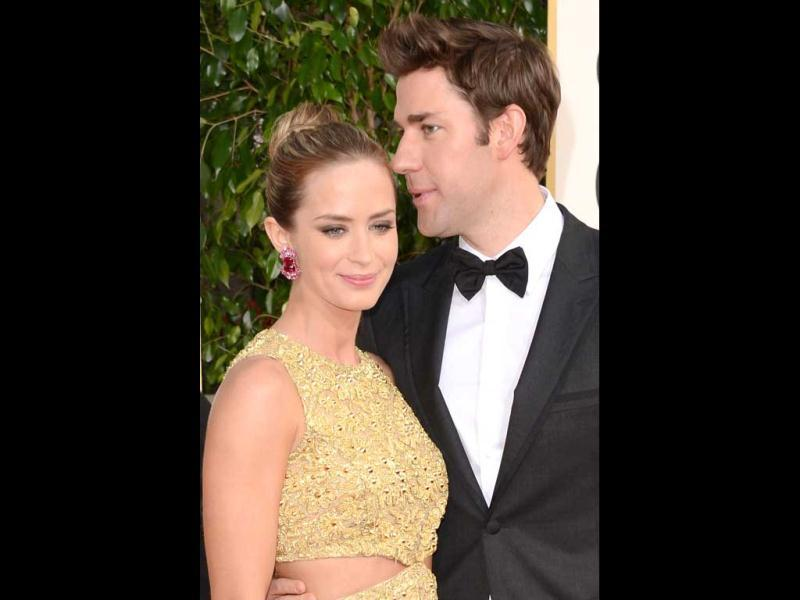 Actors Emily Blunt and John Krasinski arrive at the 70th Annual Golden Globe Awards held on January 13, 2013 in Beverly Hills, California. (Jason Merritt/Getty Images/AFP Photo)