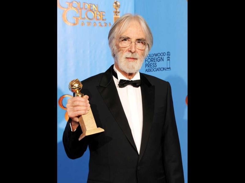 Filmmaker Michael Haneke, winner of Best Foreign Language Film for Amour, poses during the 70th Annual Golden Globe Awards held at The Beverly Hilton Hotel on January 13, 2013 in Beverly Hills, California. (Kevin Winter/Getty Images/AFP Photo)
