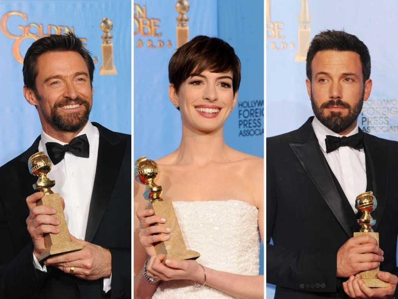 Ben Affleck's Argo won the best film at Golden Globes on Sunday night. Hugh Jackman (Les Miserables) was awarded best actor; Anne Hathway(Les Miserables) won the best supporting actoress.