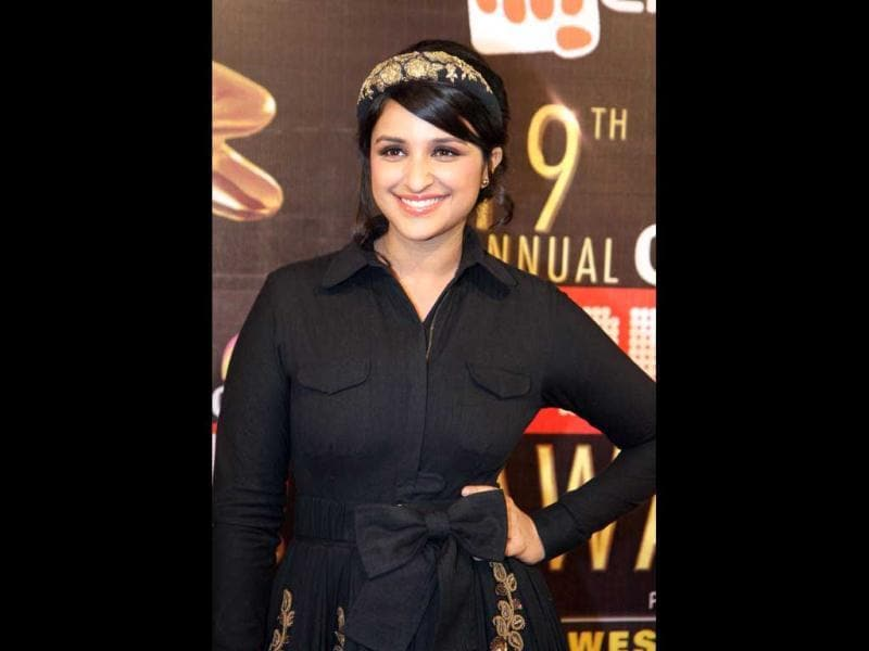 Parineeti Chopra looks very very cute in a black outfit with a headband. (AFP Photo)