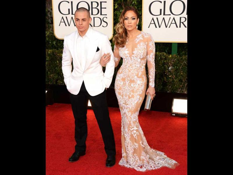 Jennifer Lopez and Casper Smart arrive at the 70th Annual Golden Globe Awards held at The Beverly Hilton Hotel on January 13. (AFP Photo)