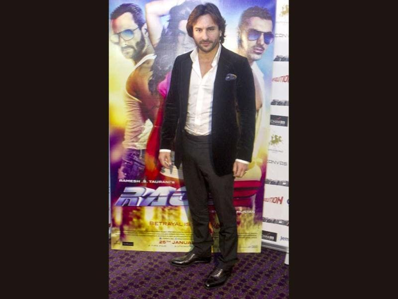 Bollywood actor Saif Ali Khan arrives at a promotional event for Race 2 at a central London casino on Jan. 14, 2013. (AP Photo)